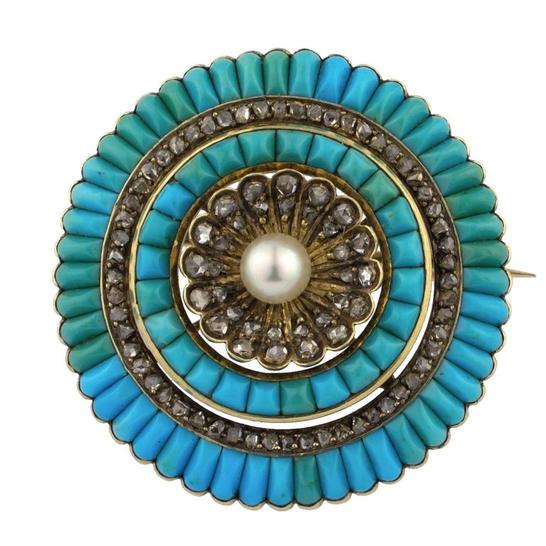 19th Century Victorian Gold Turquoises Pearl Diamonds Brooch
