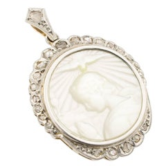 Early 20th Century Platinum Mother-of-Pearl Diamonds Pendant