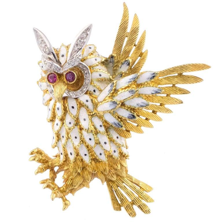 1970s Gold Diamonds Enamel Rubies Brooch