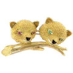 René Kern 18K Gold Enamel Rubies Emeralds Brooch