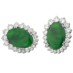 Jade Diamonds White Gold Earrings