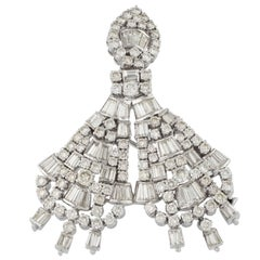 18K White Gold and Diamonds Brooch Pendant