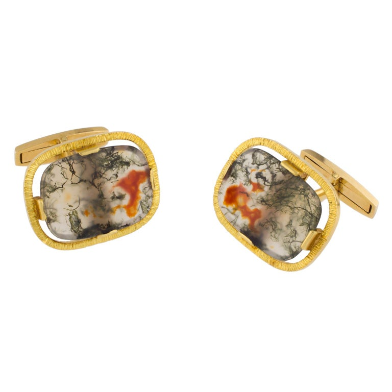 Vintage 18K Yellow Gold and Moss Agates Cufflinks