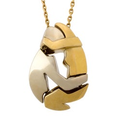 Fred White and Yellow Gold Embrace Pendant Necklace