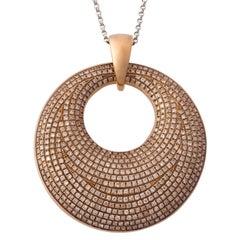 18 Karat Rose Gold and Diamond Pave Pendant Necklace