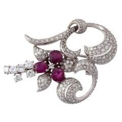 Vintage Platinum Rubies Diamonds Brooch
