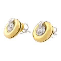 GIA Certified 18 Karat Gold De Beers Millenium Diamonds Interchangeable Earrings