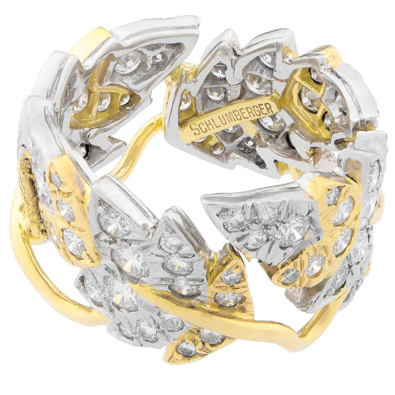 Tiffany & Co. Schlumberger Leaves Platinum Gold Band Ring