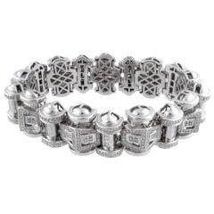 Retro White Gold Diamonds Tank Bracelet