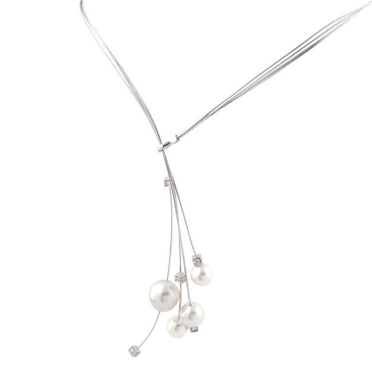 18K White Gold Kailis Comet Lariat Diamonds Australian Pearls Necklace