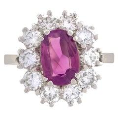 18K White Gold Pink Sapphire Diamonds Cluster Ring