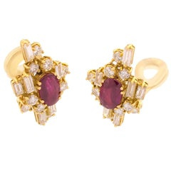 Rubies Diamond 18 Karat Yellow Gold Earrings