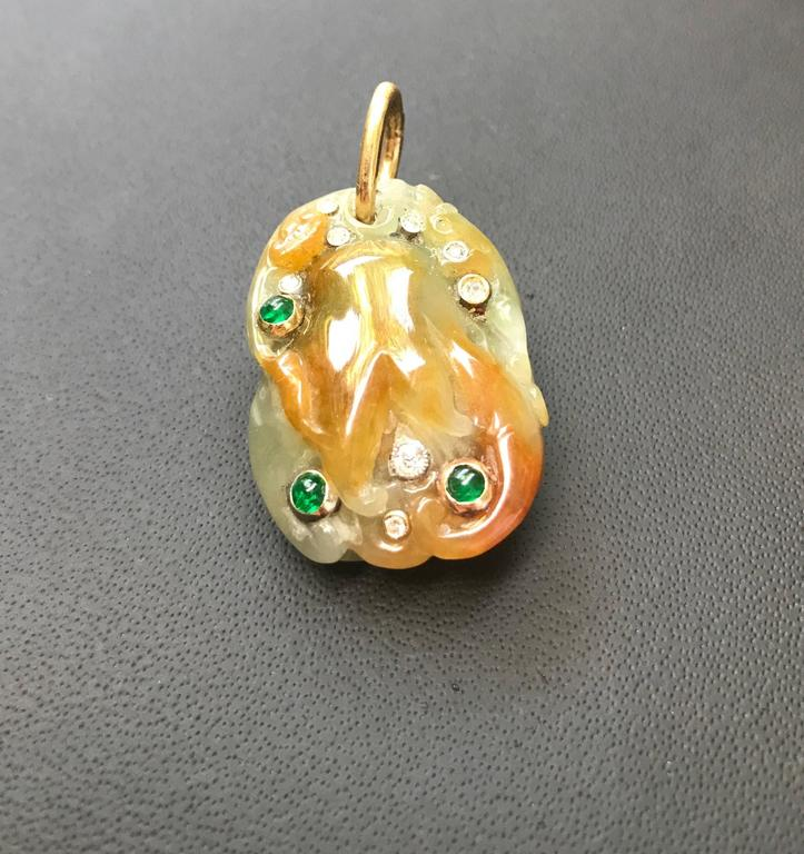 Emerald Diamond Hand-Carved Natural Jade Gold Pendant 2