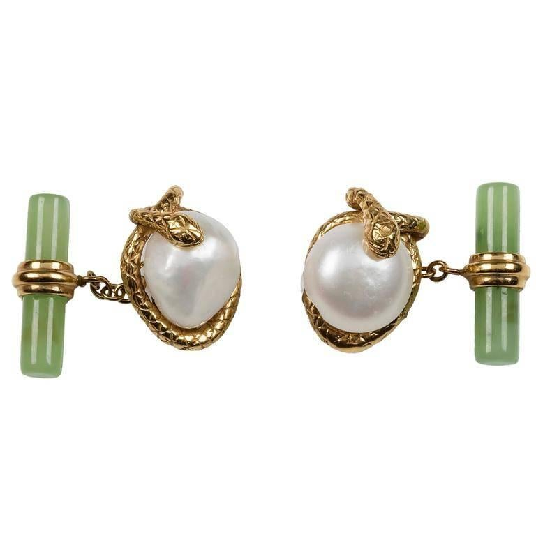 Snake Cufflinks in Gold, Pearl and Jade