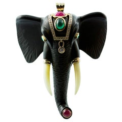 Diamonds 18 Karat Yellow Gold Brooch and Pendant Elephant with Emeralds Rubies