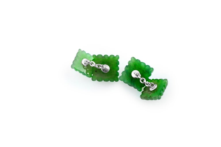 Contemporary 18 Karat White Gold Carved Squared Jade and Rubies Cufflinks For Sale
