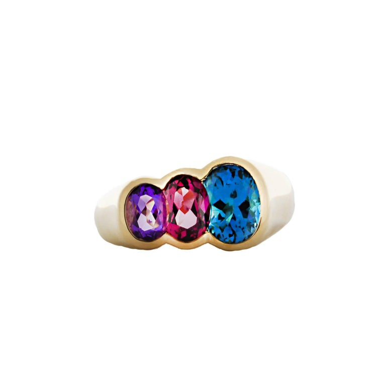Kabana Blue Topaz, Garnet and Amethyst Ring