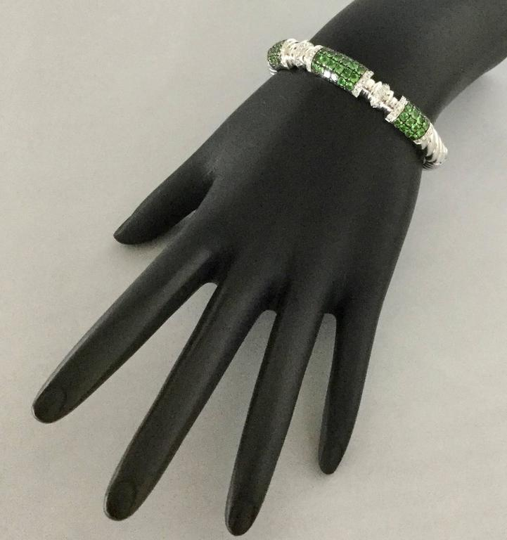 Women's Tsavorite Diamond White Gold Cuff Bracelet  For Sale