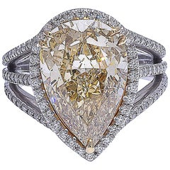Mark Patterson GIA Certified Fancy Color Yellow Diamond Platinum Ring