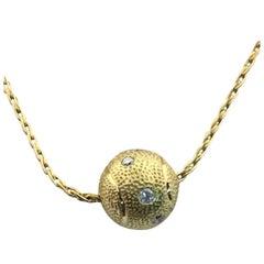 Diamond Tennis Ball 18K Yellow Necklace