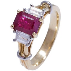 Geiss & Sons 18 Karat Ruby and Diamond Ring