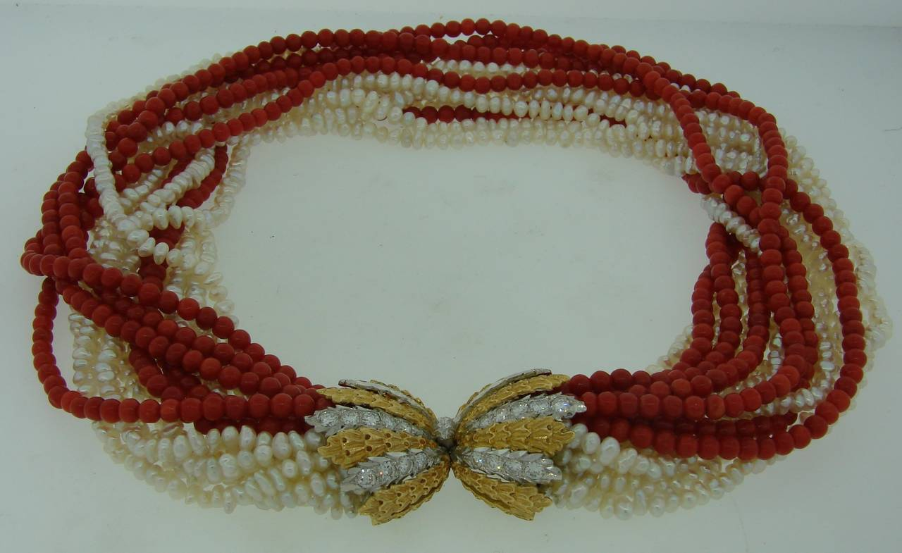 Mario Buccellati Pearl Coral Diamond Gold Necklace / Bracelet In Excellent Condition For Sale In Beverly Hills, CA