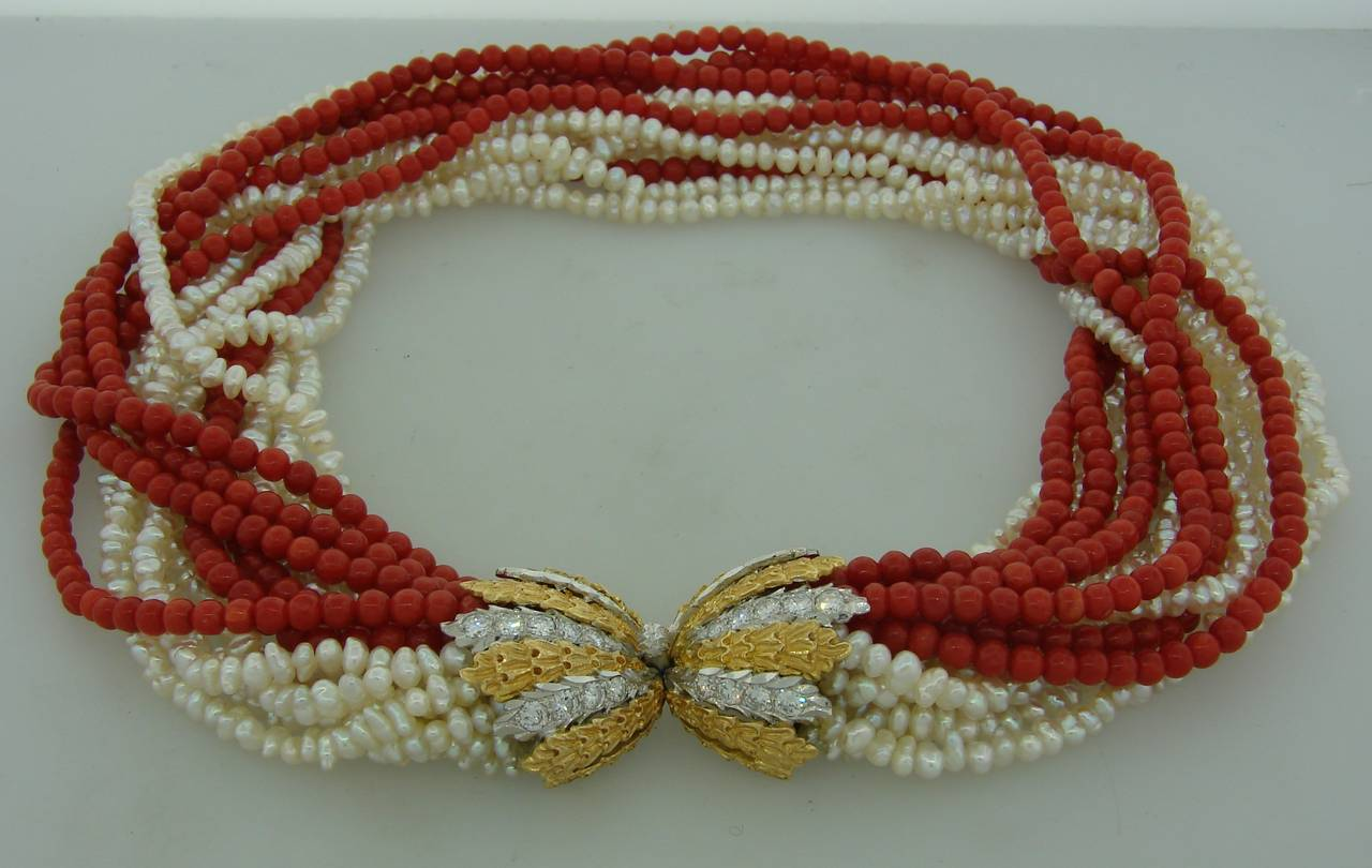 Women's Mario Buccellati Pearl Coral Diamond Gold Necklace / Bracelet For Sale