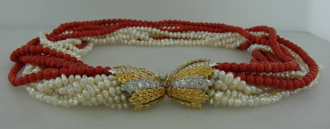 Mario Buccellati Pearl Coral Diamond Gold Necklace / Bracelet For Sale 1