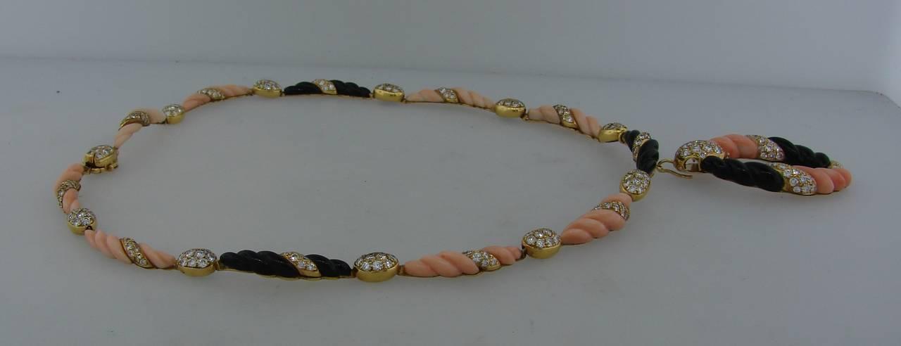 Boucheron Paris Coral Onyx Diamond Gold Necklace Earrings Set 1970s 6