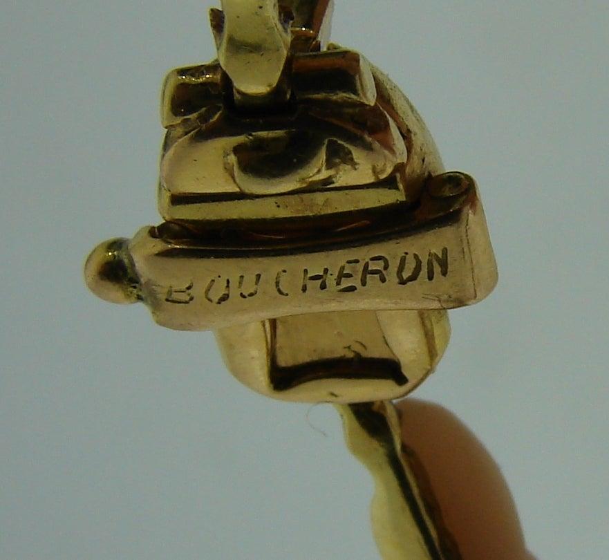 Boucheron Paris Coral Onyx Diamond Gold Necklace Earrings Set 1970s 7