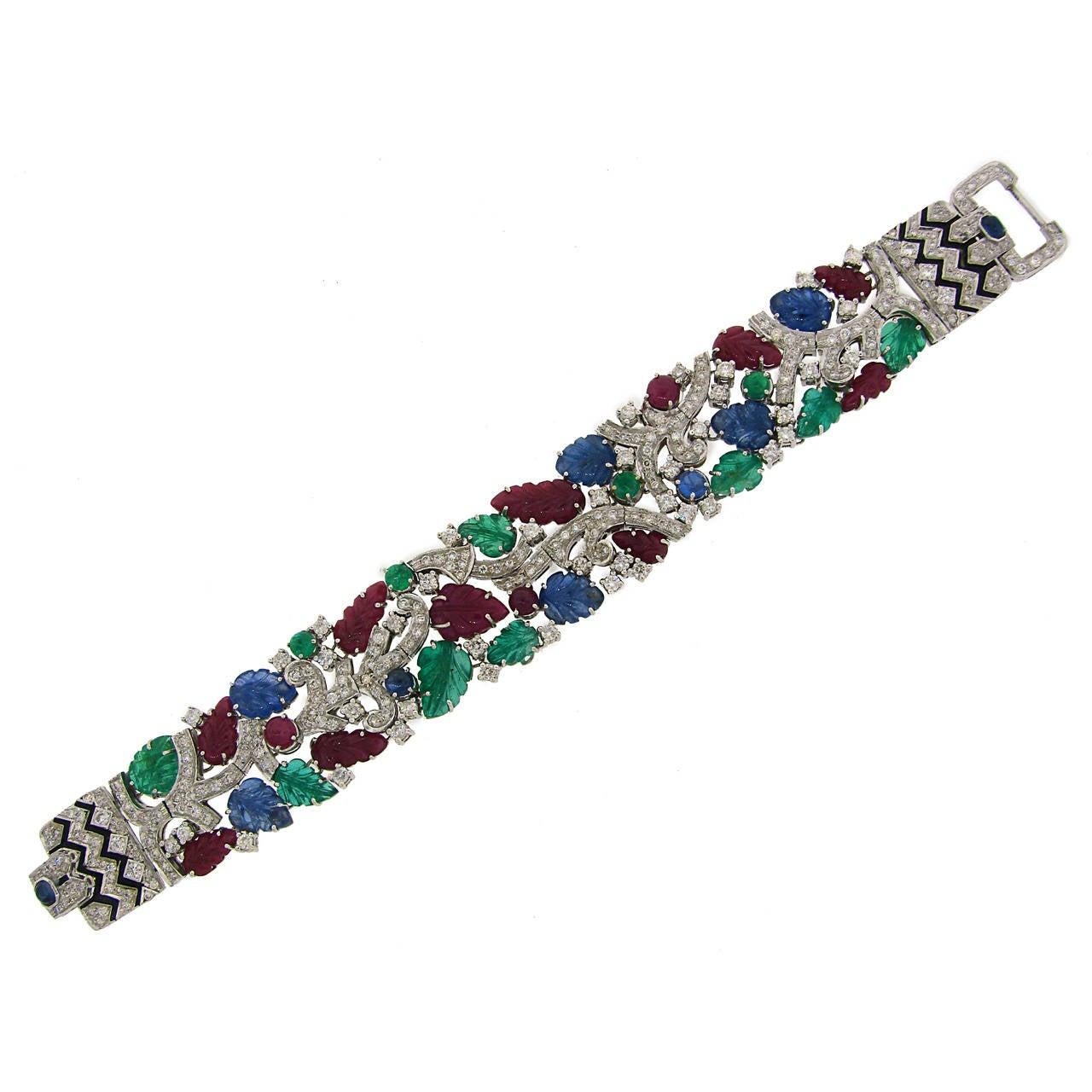 Carved Ruby Sapphire Emerald Diamond White Gold Tutti-Frutti Bracelet