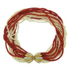 Mario Buccellati Pearl Coral Diamond Gold Necklace or Bracelet