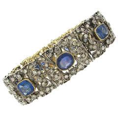 Victorian Sapphire Diamond Silver Gold Bracelet
