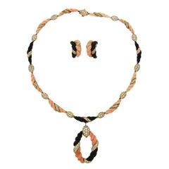 Boucheron Paris Coral Onyx Diamond Gold Necklace Earrings Set 1970s