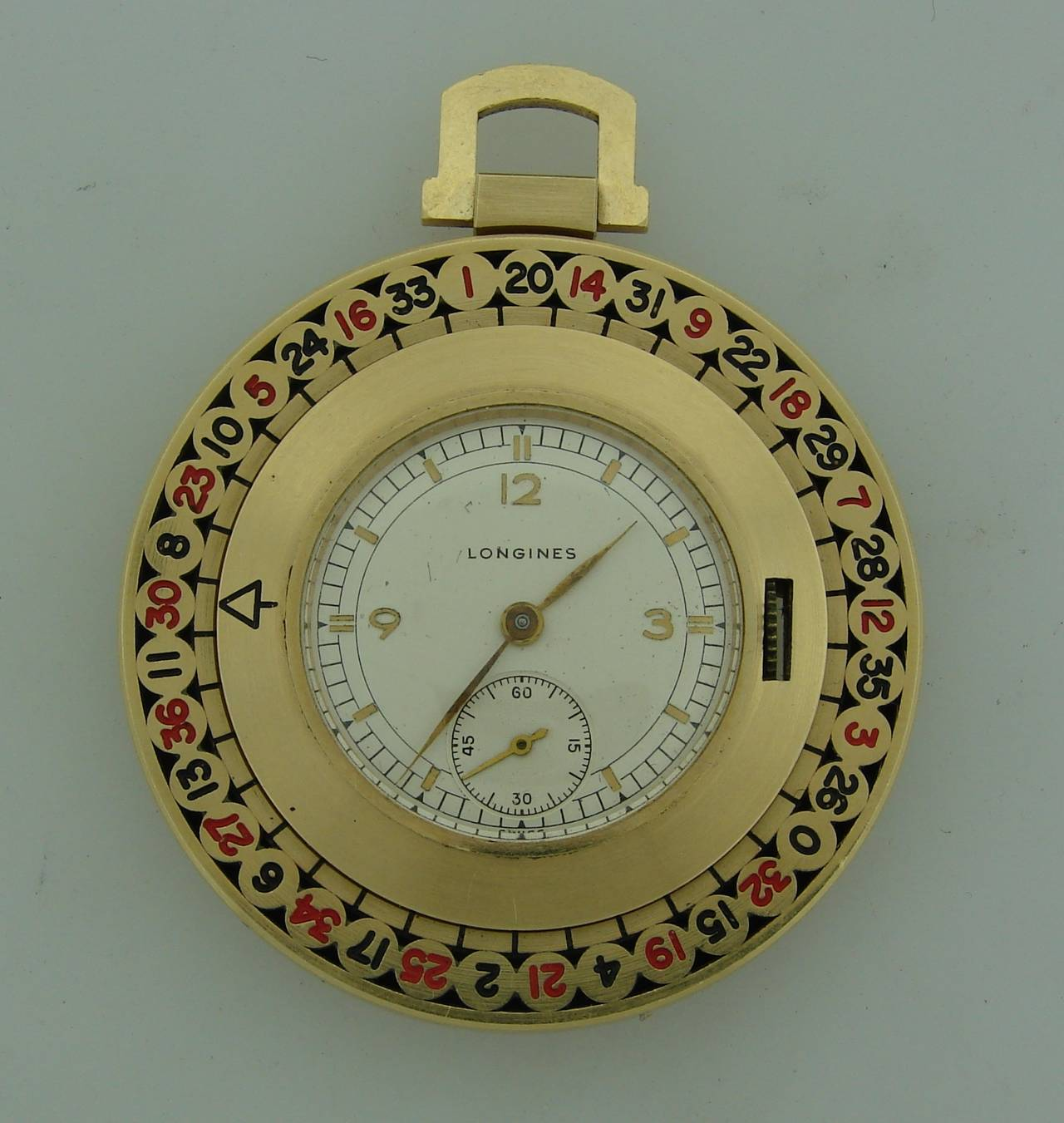 Longines Yellow Gold Enamel Roulette Pocket Watch Circa 1940s In Excellent Condition For Sale In Beverly Hills, CA