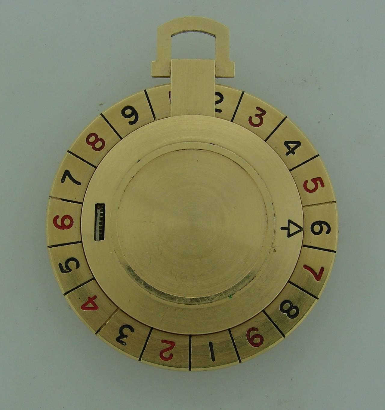 Women's or Men's Longines Yellow Gold Enamel Roulette Pocket Watch Circa 1940s For Sale