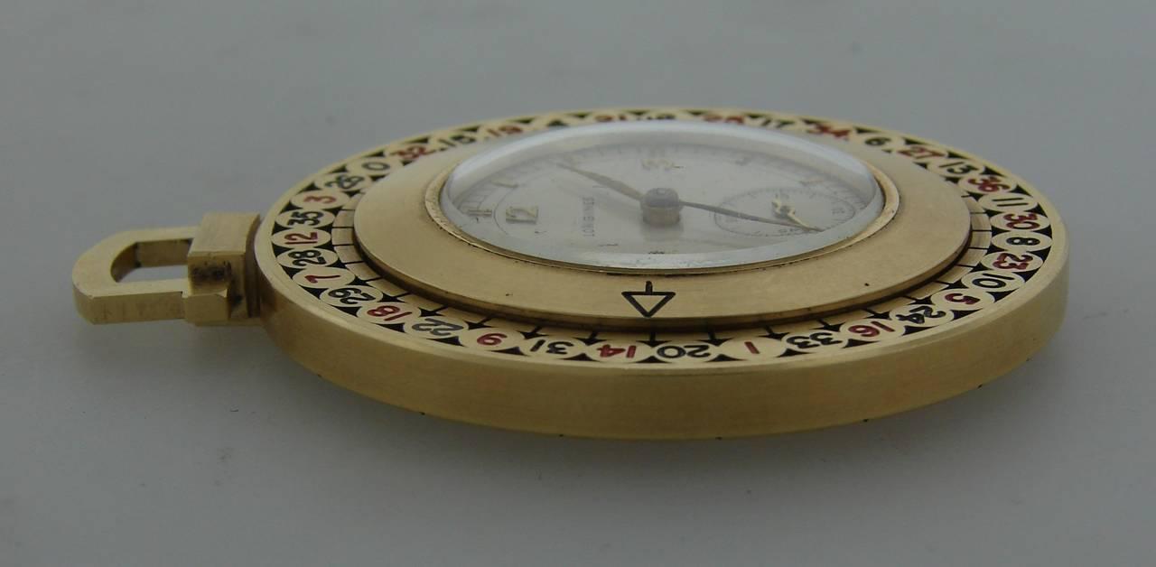 Longines Yellow Gold Enamel Roulette Pocket Watch Circa 1940s 5