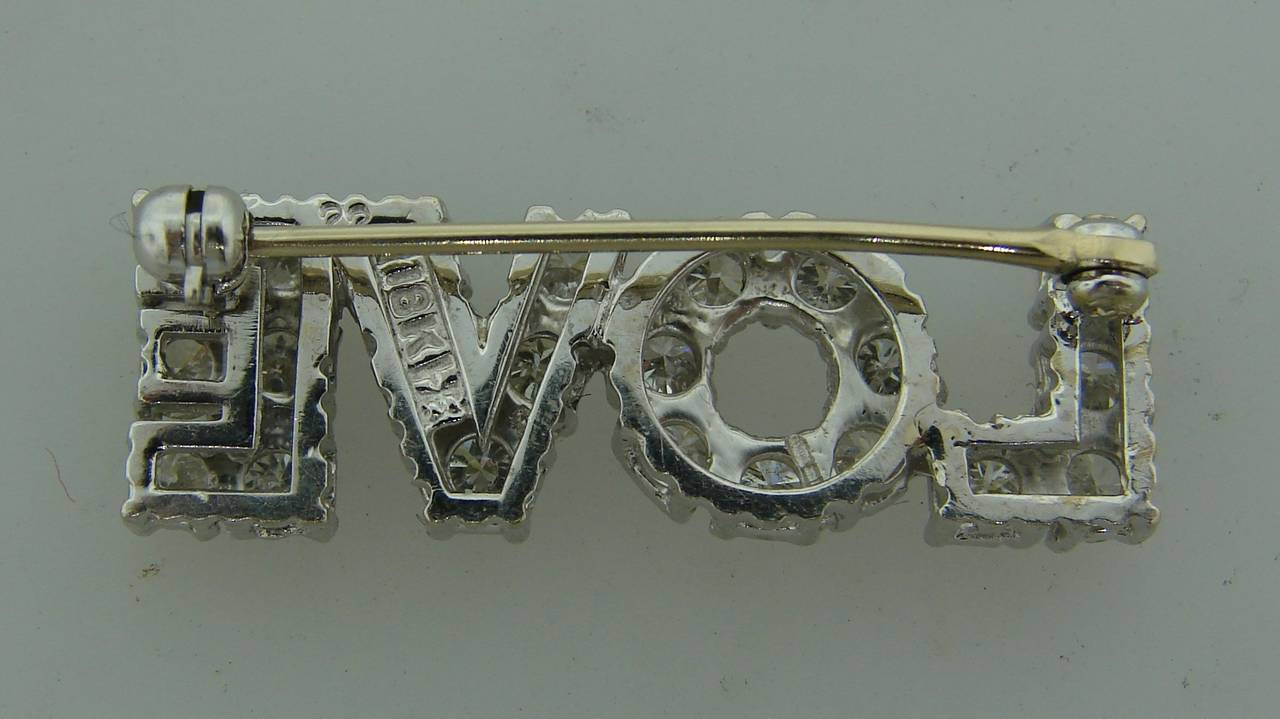Diamond White Gold LOVE Pin Brooch In Excellent Condition In Beverly Hills, CA