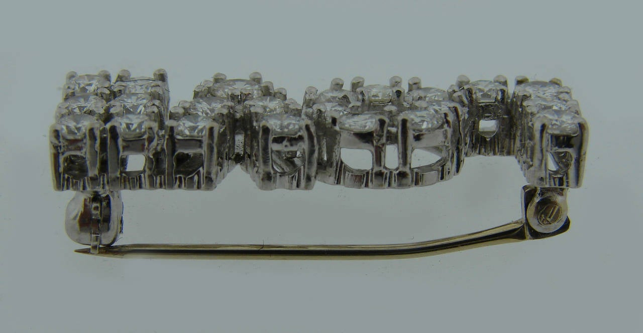 Diamond White Gold LOVE Pin Brooch 1