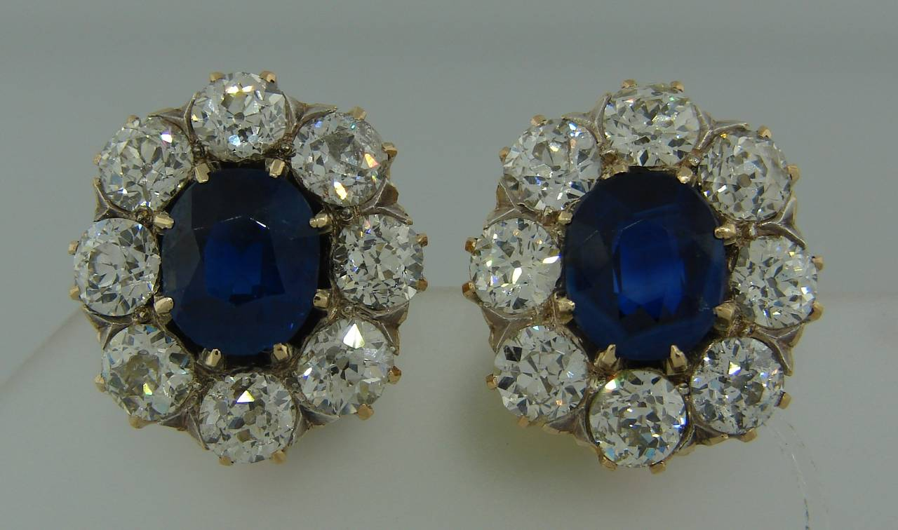 Antique Sapphire Diamond Gold Cluster Earrings 3