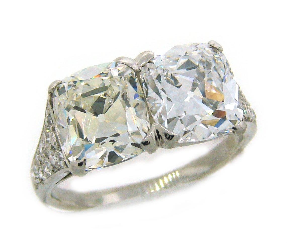 Cushion Cut Cartier Art Deco Diamond Platinum Two Stone Ring For Sale