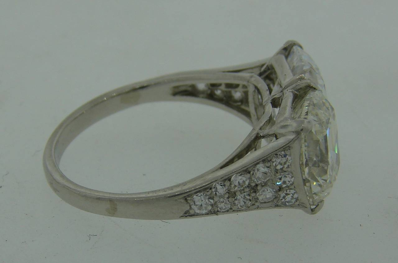 Cartier Art Deco Diamond Platinum Two Stone Ring For Sale 1