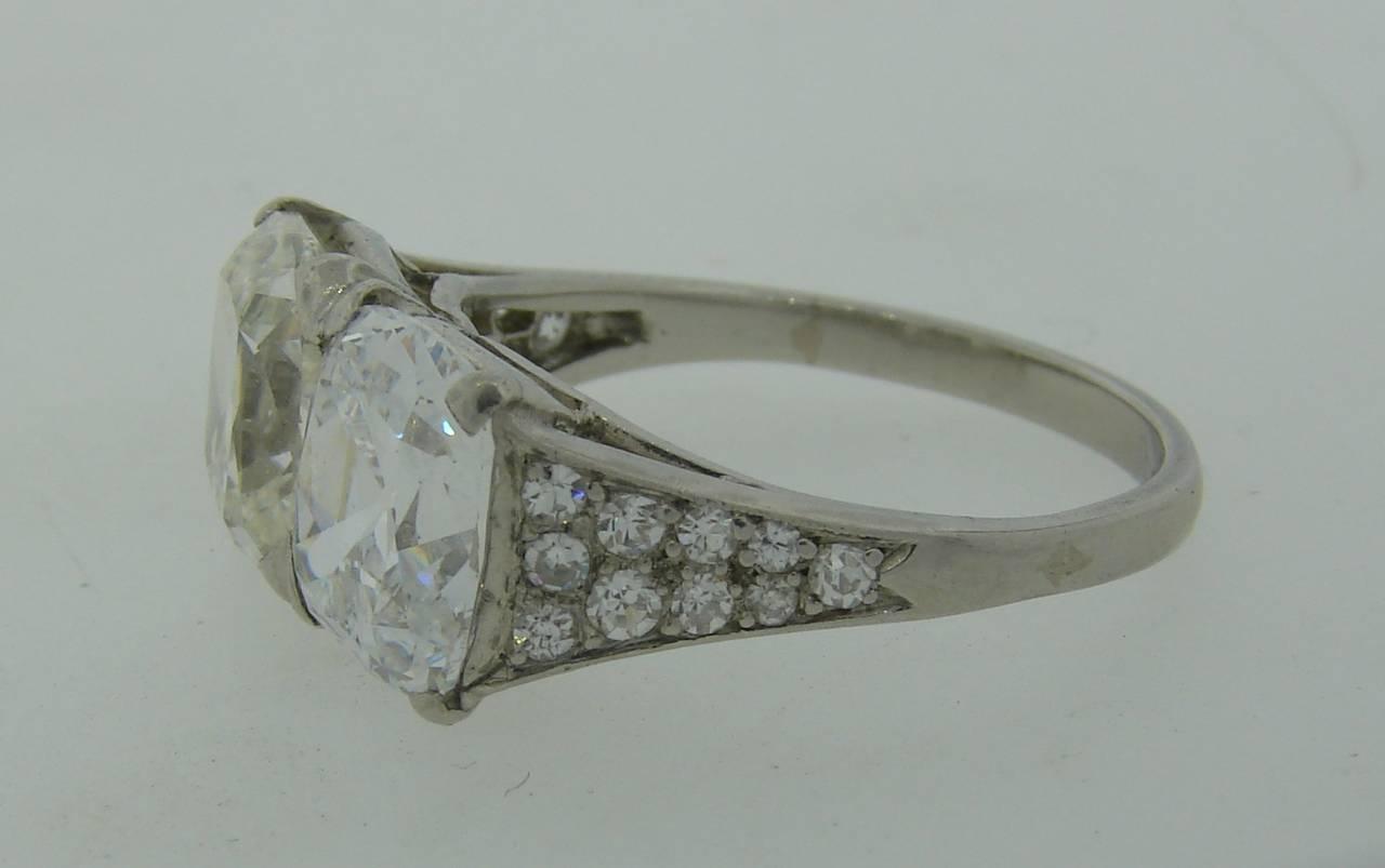 Cartier Art Deco Diamond Platinum Two Stone Ring For Sale 2