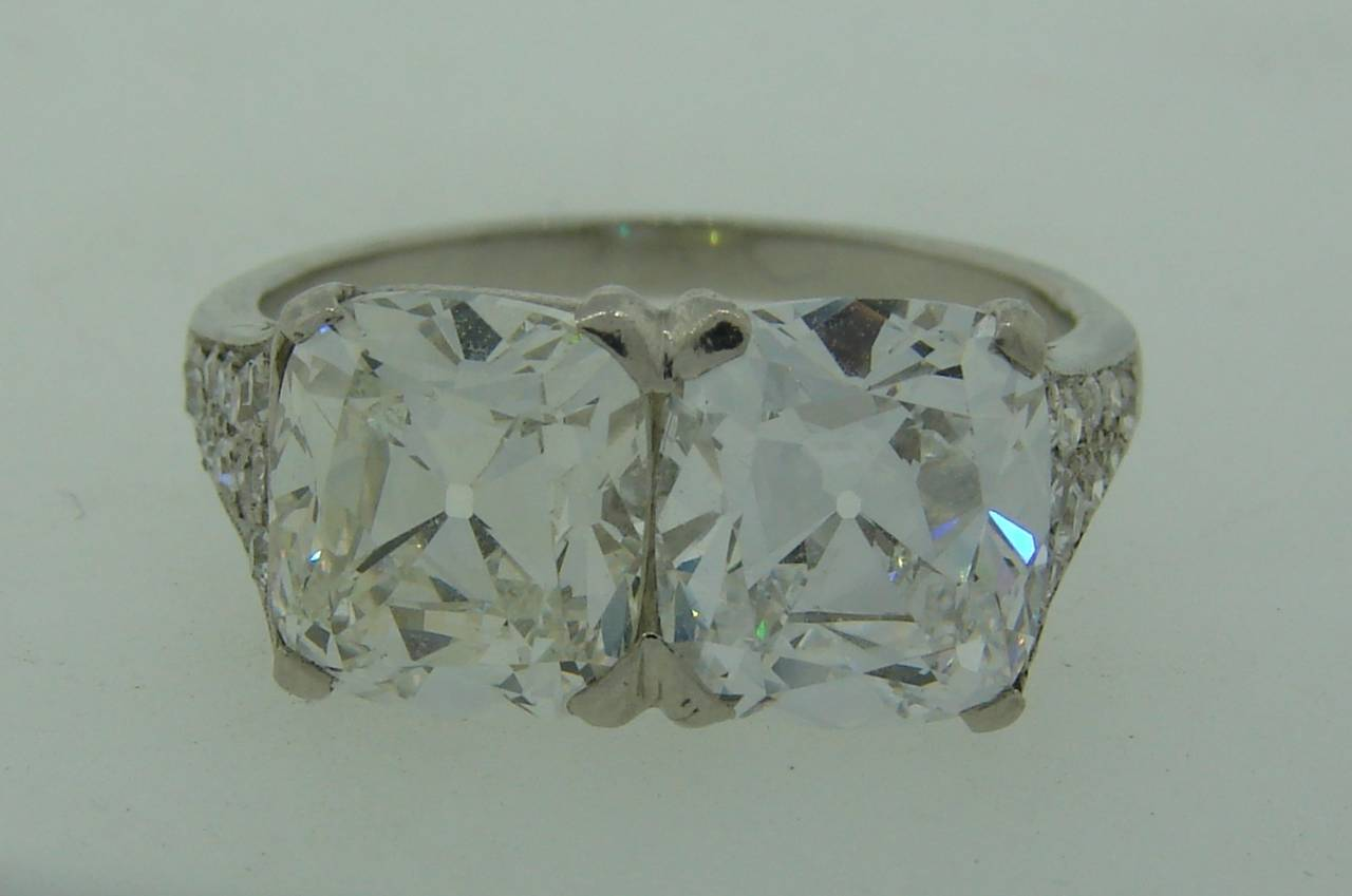 Women's Cartier Art Deco Diamond Platinum Two Stone Ring For Sale