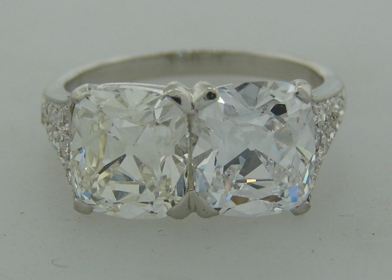 Cartier Art Deco Diamond Platinum Two Stone Ring In Excellent Condition For Sale In Beverly Hills, CA