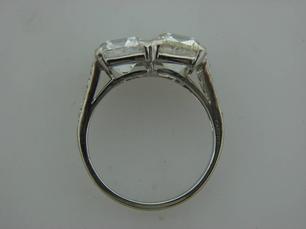 Cartier Art Deco Diamond Platinum Two Stone Ring For Sale 2