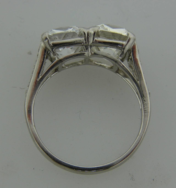 Cartier Art Deco Diamond Platinum Two Stone Ring For Sale 4