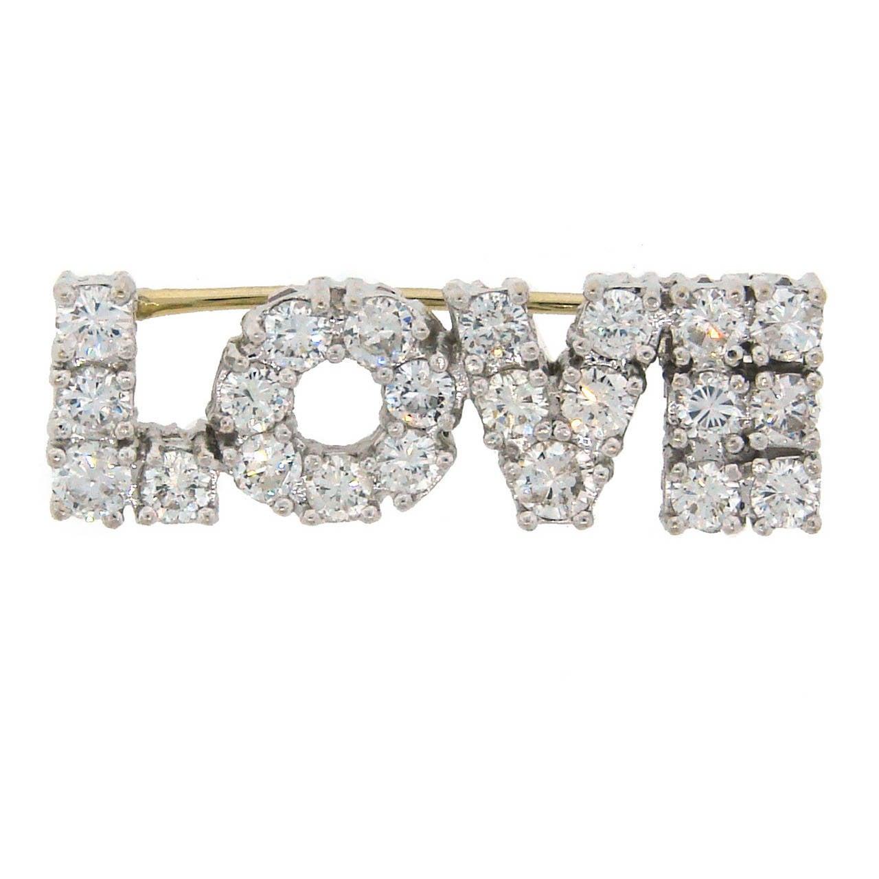 Diamond White Gold LOVE Pin Brooch