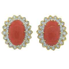 David Webb Coral Diamond Gold Earrings