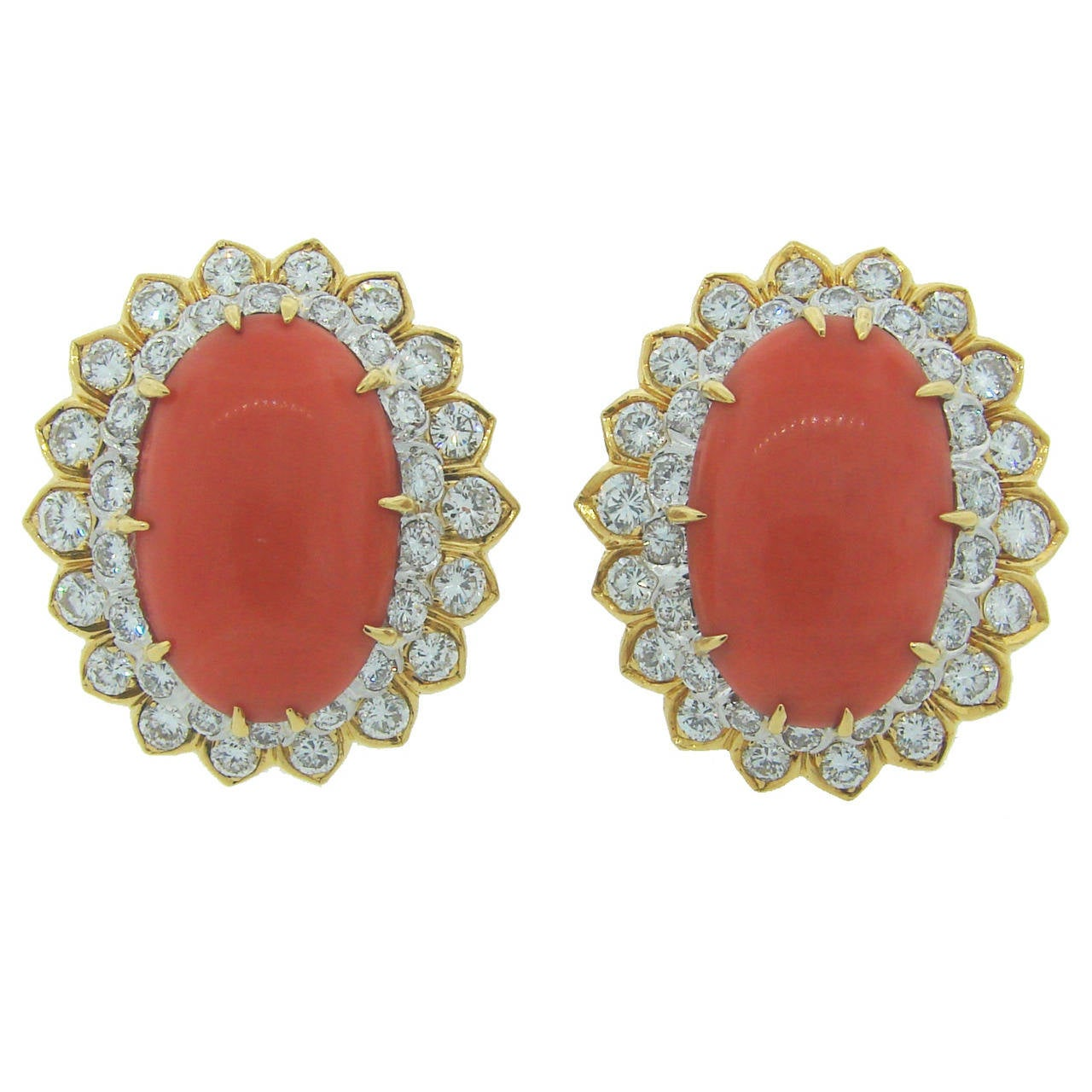 David Webb Coral Diamond Gold Earrings